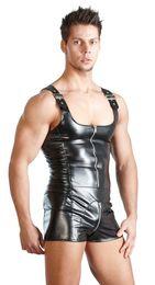 lingerie de nuit pour hommes Promotion Black Plus Size Leather Underwear pour hommes Latex Vêtements Hommes String Body Justaucorps Hommes Érotique Lingerie Sexy Vêtements de Nuit