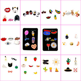 Wholesale White Flower Pins Brooches - 106 styles enamel colorful Lapel pins Badge Backpack Shirt Collar Decor Bird Flower Tree Fruit Bee Ice Cream Guitar Pencil