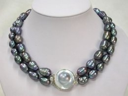 Wholesale Rare Pearls - FFREE SHIPPING**Rare Mabe Clasp AAA 9-10mm Rice Pearl Necklace