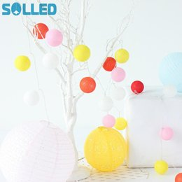 Wholesale pretty lamps - Wholesale- SOLLED Pretty LED Cotton Ball String Lights Colourful Lamp Decoration for Household Christmas Spring Festival Party Wedding