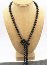 """Wholesale Pearl Real Akoya - New 6-7mm Black real akoya Tahiti Cultured Pearl Necklace 60"""" AA+ Hand knotted"""