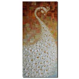 Картины павлина онлайн-Ручная живопись Абстрактное искусство 3d Ручная роспись на холсте Современное украшение 100% Ручная роспись на стенах Павлин, щеголяющий своим хвостом