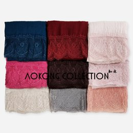 Wholesale Big Lace Scarf - Wholesale-10pcs lot mixed lace hijab big size plain solid lace scarf fashion viscose cotton maxi lace shawls soft muslim islamic scarves