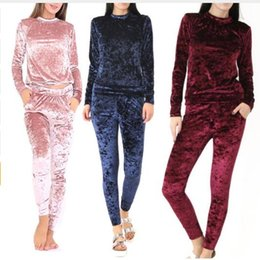 Wholesale Velvet Suit Tracksuit - Women Crushed Long Sleeve Soft Solid Color slim Velvet Suit set Sweatshirt Pant Tracksuit Wear sport suit set clothing