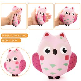 Wholesale Broken Phones - 2017 new 14CM Squishy Kawaii Cute Pink Owl PU Soft Slow Rising Phone Strap Squeeze Break Kid Toy Relieve Anxiety Fun Gift