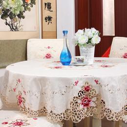 Mesas redondas casamentos on-line-Europa Toalha De Mesa Bege Rendas Bordado Floral toalha de mesa Quadrada Toalhas de mesa Redondas para casamentos Decoração de Casa toalha de mesa