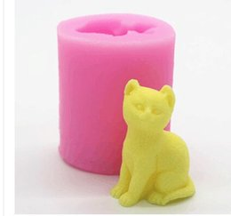 Wholesale Candle Moulds - 3D Silicone Soap Mold Shaped Mini Cat Shaped Cupcake Molds Handmade Candle Baking Molding Tools Pink And yellow 5nf J R