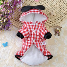 Wholesale Dress For Dogs Red - Plaid Winter Pet Dog Clothes Clothing for Pet Small Dog Coat Winter Hoody Jackets with Super Black Red Bowknot jacket skirt dress