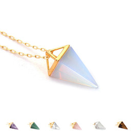 Wholesale Pyramid Faces - 2017 Healing Crystal Opal Pyramid Amethyst Necklace Gold Plated Howlite Rose Quartz Amulet Natural Stone Pendant Necklaces collier