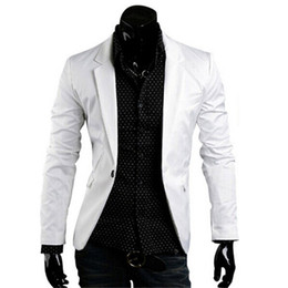 Wholesale White Blazer Coat For Men - Wholesale- Blazer Men 2016 New Wrrival Brand Men's Clothing White Blazer Suit Slim Fit Casual Suits Men Blazers Jacket Coats For Men,RHY68