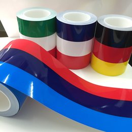 Wholesale Carbon Wholesalers - 1pcs Car Stickers 200cm*15cm Flag Three Color Strip Car Sticker Car Roof Hood Sport Decal Germany France Italy Decorative For BMW Sticker