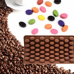 Wholesale 3d Jelly Cake - 55 Holes Coffee Bean Chocolate Mold Silicone 3D Coffee Beans Non-Stick Cake Fondant DIY Jelly Ice Baking Mould