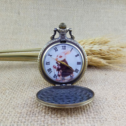 Wholesale Bronze Watches Necklace - Cute Bronze Rabbit Alice in Wonderland Copper Men Women Pocket Watch Chain Necklace Pendant Fashion Modern Hot Christmas Gift