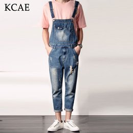 Wholesale Suspender Jeans Overalls - Wholesale- 2016 Spring Autumn Fashion mens slim jean overalls Casual bib jeans for men Male Ripped denim jumpsuit Suspenders Bibs