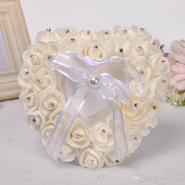 Wholesale Bridal Ring Pillows - Flower Girl Dresses New Foreign Trade European Bridal Heart-shaped Ring Pillow Get Married Adornment Lace for Ostrich Hair Decoration Box