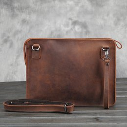 Wholesale Horse Leather Ipad - Wholesale- iPad Leather crazy horse Male business leather shoulder bag the briefcase The envelope bag restoring ancient ways
