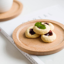 mini tableware Promo Codes - Dia 14cm Mini Cake Snack Fruit Tray Round Wooden Plate Small Serving Trays Mug Coaster Tableware Wooden Utensils