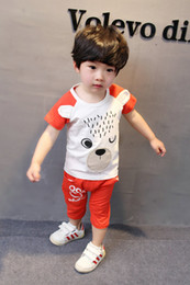 Wholesale Piece Outfit Xl - Male children's wear the new 2017 summer suit the 12-3-4 - year - old male and female baby suits summer wear cotton two-piece outfit