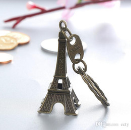 Wholesale France Gold Coins - Zakka Zinc Alloy Vintage Eiffel Tower Keychain France Pairs Letter Tower pendant key ring gifts Fashion Free shipping Bronze Color