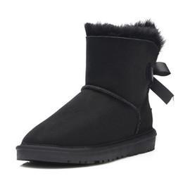 botas de piel azul Rebajas Alta calidad clásico de cuero genuino de lana forrada de piel de tobillo ante mujer invierno botas de nieve bailey arco azul marino marrón Mini botas us5-10