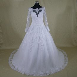 Wholesale White China Buttons - 2017 Plus Size Wedding Dresses Gowns Long Sleeves A-line Sheer Tulle And Lace Maxi Women Bridal Dress Custom Made Sizes From China