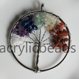 Wholesale Photos Gemstones - 10pcs NEW Handmade Tree of Life Chakra Healing Crystal Wire Wrap Natural Gemstone Pendant Jewelry Bracklace Making