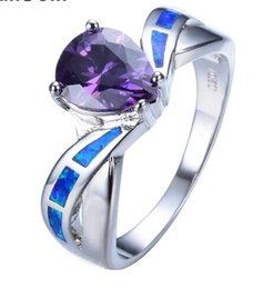 Wholesale Yellow Gold Opal Ring - New Elegant Amethyst AAA Zircon Blue Fire Opal Rings White Gold Filled Jewelry Wedding Gifts For Mother's Day