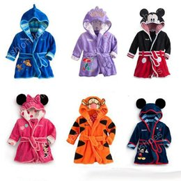 Wholesale Animal Hoodie Pajamas Kid - High quality Kids Cartoon Bathrobe Children Pajamas for Kids Hoodies Baby Towels Robe Boys Gilrs Flannel Nightgowns Kids Clothing