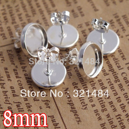 Wholesale Wholesale Earring Stud Backings - bulk 1000X silver plated 8mm cameo cabochon setting blank earring post with pad and backs butterfly stoppers for stud findings