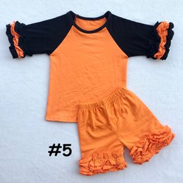 Wholesale Holiday Girls Outfits - Girls Holloween Holiday cloth set Baby girl Autumn Winter Clothing Cotton Boutique Ruffle T-shirt Pants Kids 2PCS outfit