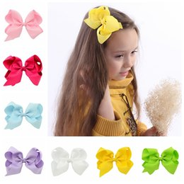 Wholesale Girls Hair Accessories Hairclips - 588 Wholesale 15pcs lot Girls 6 inch Ribbon Bows with Clip Grosgrain Lovely Hairclips Girls Hair Accessories