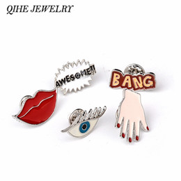 Wholesale Wedding Bangs - Wholesale- QIHE JEWELRY BANG AWESOME!! Sexy Red Lip Hand Eye Cute Enamel Pin Set Brooch Set Lapel Pin Set For Jeans Hat Badge