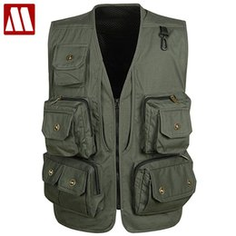 Wholesale Camera Man Vest - Wholesale- New Arrival! Multifunctional Camera Vest Men Summer Men's Clothes Travels Vests With Multiple Pockets Sleeveless Jacket M-XXXL