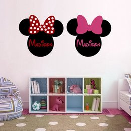 Wholesale Ear Stickers - custome Personalized Customized Name Mickey Minnie Mouse Wallpaper Ear Vinyl Wall Stickers Decal Mural for Baby Kids Room 50x110cm