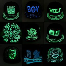 Wholesale Glow Dark Hats - Dark glowing Snapback cap hip hop hat flat brim hats women baseball cap men capwomen caps