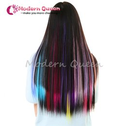 Wholesale Mixed Hair Clips Wholesale - One Piece Hair Clip In Extensions Mixed Colors 50Cm Long Straight Synthetic Hairpieces Clip On hair clip in human hair extensions