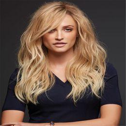 Wholesale Blonde European Hair Virgin Wig - Full Lace Wigs Ombre human hair wig Full Lace Human Hair Wig Senior silk Long Wavy Brazilian Virgin Hair 100% With Bangs For women Color 27#