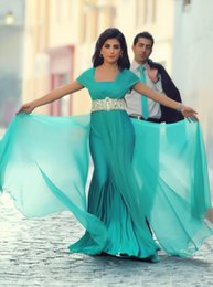 Wholesale Sexy Turquoise Prom Dresses - Custom Made A line Square Collar Cap Sleeve Beaded Sash Chiffon Turquoise Party Dress vestidos de festa 2016 Arab Prom Dresses