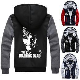 Wholesale Walking Dead Daryl Dixon - The Walking Dead Thicken Warm Jacket Winter Unisex Coats Daryl Dixon Zipper Hoodie sweatshirts Negan Outerwear thicking ZIP Hooded Sweater
