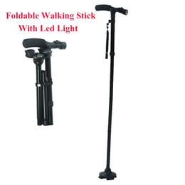 Wholesale Wood Base Led Light - Wholesale- 4 Sections Foldable Adjustable T Handle Cane With LED Lights Non Slip Sillion Base Black Hiking Walking Stick