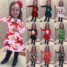 Wholesale Elk Dress - Girl INS Christmas Dress Children Cartoon Snowman Santa Claus elk long sleeve dresses Little Girls Party Princess Dresses KKA3433
