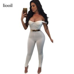 Wholesale Sexy Stretch Jumpsuits For Women - Sexy Strapless White Jumpsuit For Women Summer Off The Shoulder Backless Zippers Bodycon Jumpsuits Slim Stretch Overalls 17411