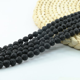 Wholesale Blue Black Stone - Natural Black Lava Rock Beads Semi Precious Stone Beads for Yoga Jewelry Making 4 6 8 10mm 15 inch Strand Per Set L0582#