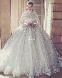Wholesale Muslim Hands - New 3D-Floral Appliques Muslim Long Sleeve Wedding Dresses Ball Gown High Neck Crystals Puffy White Vintage Lace Bridal Gowns Plus Size 2017