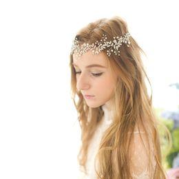 Wholesale Handmade Ribbon Headbands - 2017 New Crystal Pearl Rhinestone Wedding Bridal Headband Handmade Bridal Hat Special Occasion Hair Accessory Headwear