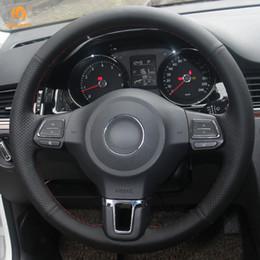 Jetta mk6 ruote online-Coprivolante per auto in pelle sintetica nera Mewant per Volkswagen Golf 6 Mk6 Jetta 6 Polo 2011-2014