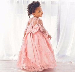 Wholesale Big Flower Pictures - Sparkling Flower Girl Dresses Lace Applique Long Sleeves Beauty Pageant Dresses for Girls With Big Satin Bow At Back Birthday Dress For Girl