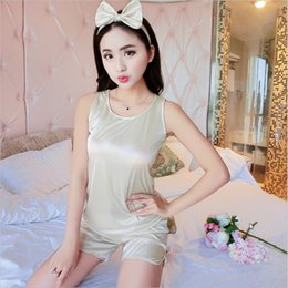 Wholesale- Summer New Women s fashion Sleeveless ice silk Pajamas Sets  Round Neck Comfortable home clothes Breathable Sexy sleepwear Suit ac8c250da