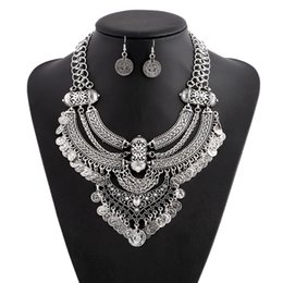 Wholesale Textures Silver Jewelry - Hot sales metal texture carved tassel necklace coins pendant women clavicular jewelry retro choker drop tassel jewerly sets