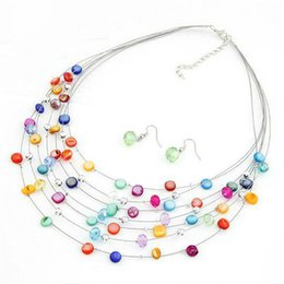 Wholesale Multi Layer Earrings - Colorful Crystal Necklace Bohemian Shell Multi-layer Necklace Earrings Set for Sale Jewelry For Women Party Jewelry Accessory Wholesale